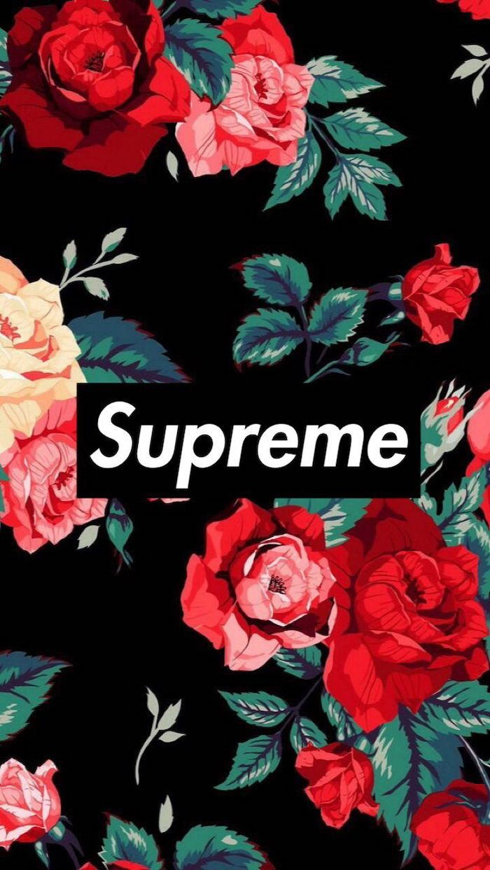 black background supreme wallpaper girl supreme logo in black and white at the center surrounded by pink and red roses