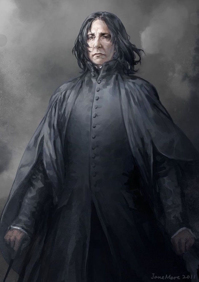 drawing of severus snape, wearing long black robe, harry potter drawings, black background, watercolor painting