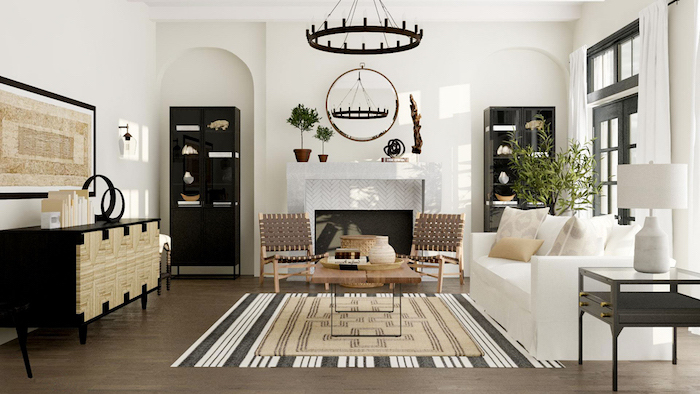 white sofa and ratan armchairs, farmhouse living room, placed on front of a fireplace, carpet on wooden floor