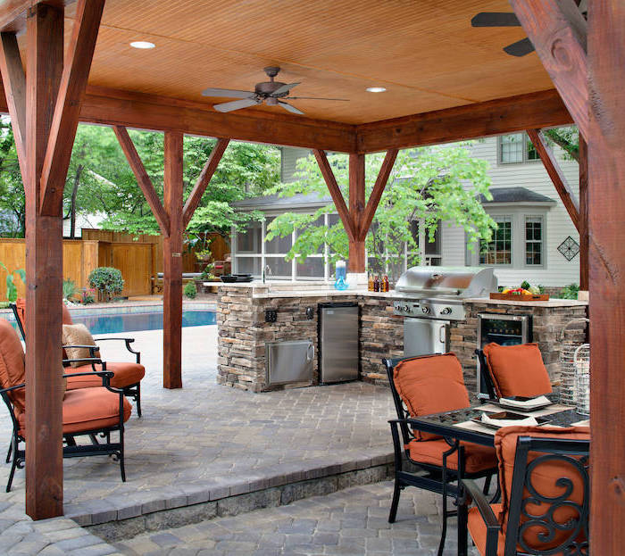 black metal chairs with orange cushions outdoor bbq ideas kitchen island made of stones with metal fridge and grill outdoor bbq ideas next to the pool
