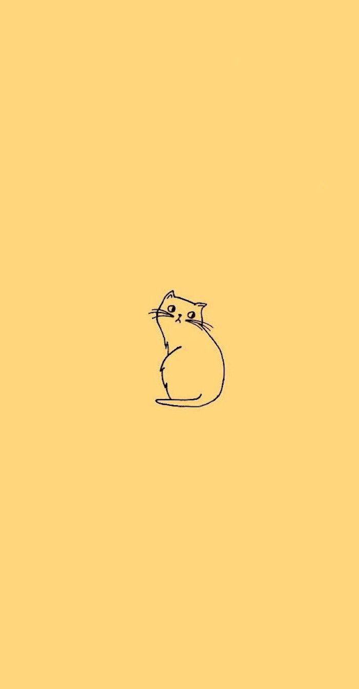 black outline of a cat with whiskers on pastel yellow background funny phone backgrounds