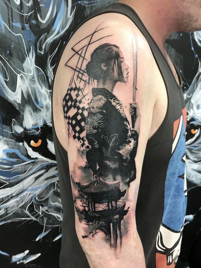 black trash polka tattoo style of female samurai holding a sword wearing kimono shoulder tattoo