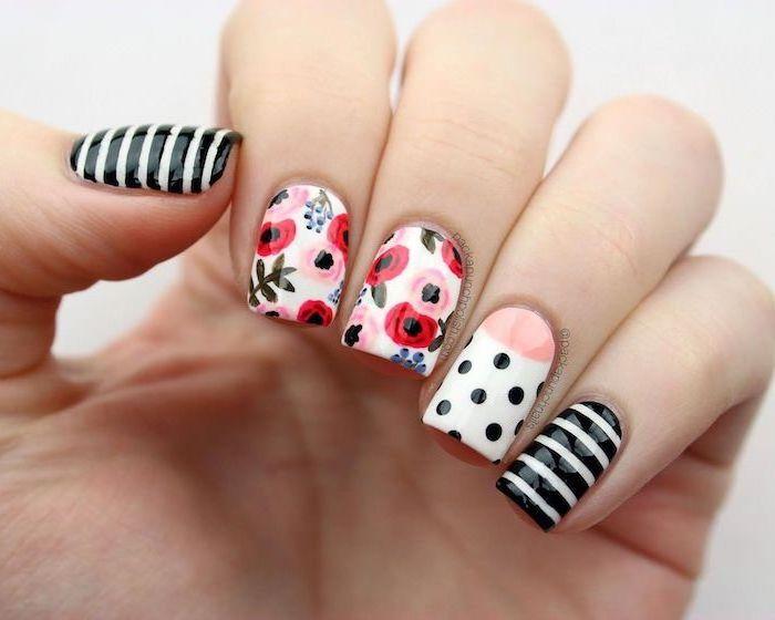 flower decorations, summer nail designs, white and black nail polish, short square nails