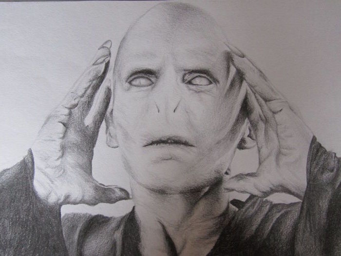 drawing of voldemort, black and white pencil sketch, harry potter drawings, portrait drawing