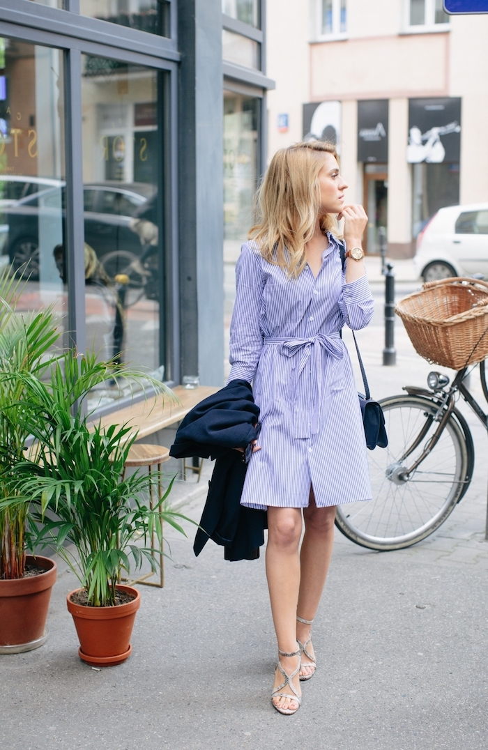 blonde woman wearing blue and white striped shirt dress pinterest cute outfits carrying black blazer