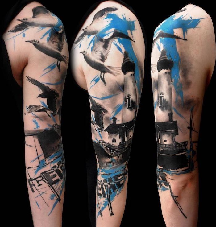 blue and black tattoo trash polka tattoo design half sleeve tattoo of lighthouse with birds flying around it