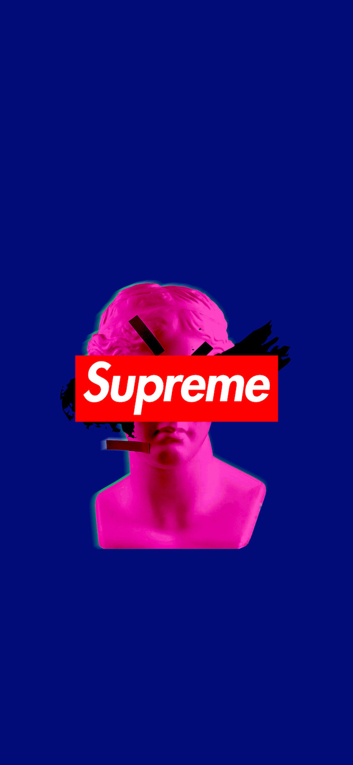 blue background black supreme wallpaper neon pink cartoon of statue red and white supreme logo in the middle