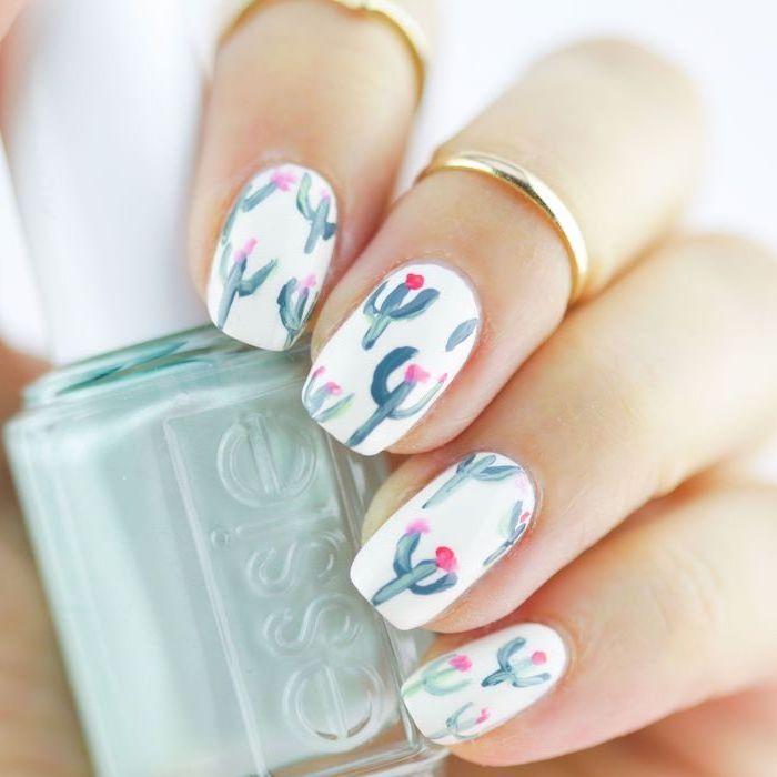 white nail polish, cactuses drawings decorations, summer nail designs, medium length squoval nails