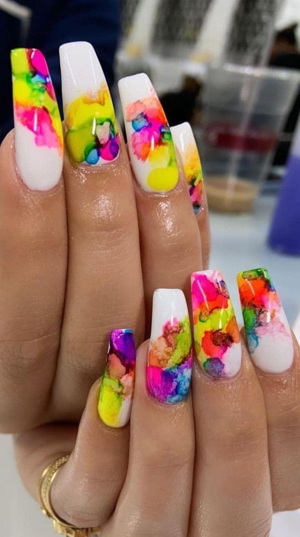 long coffin nails, white nail polish, summer nail colors, watercolor splashes decorations
