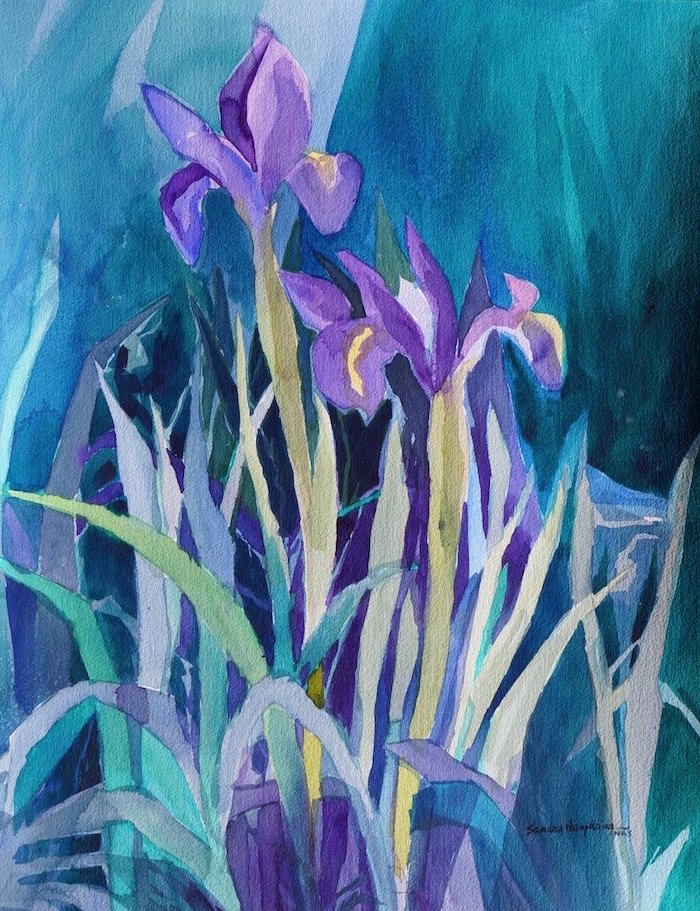 purple orchids with leaves, blue and green watercolor background, watercolor painting for beginners, abstract art