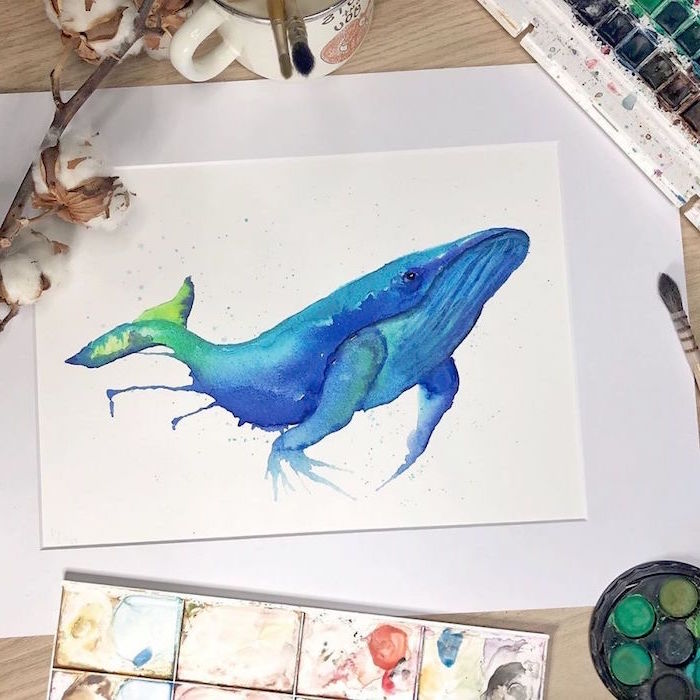 painting of a whale, painted in blue and green watercolor, simple watercolor paintings, white background