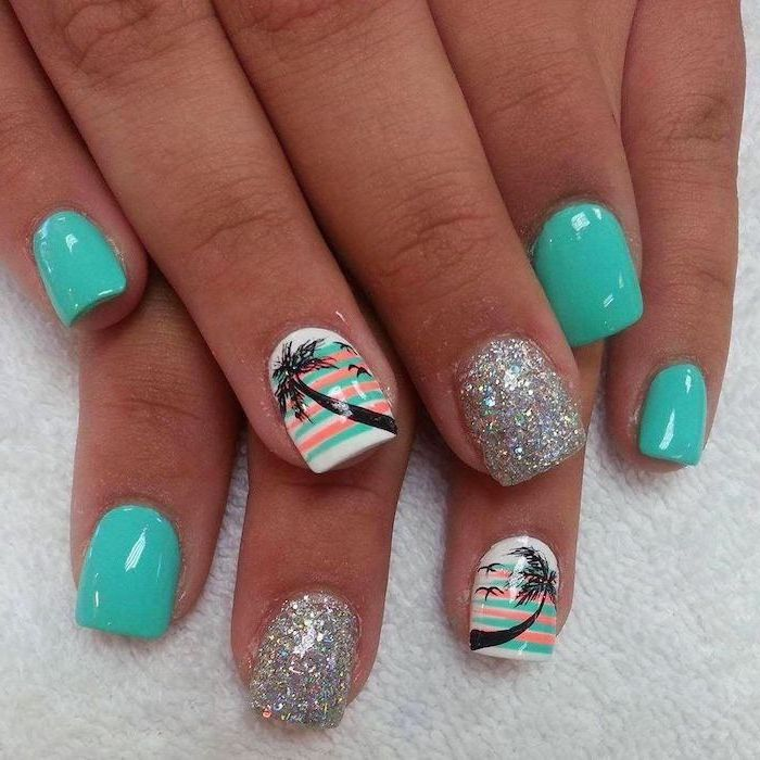 turquoise and white nail polish, nail design ideas, silver glitter nail polish, palm trees decorations, short square nails