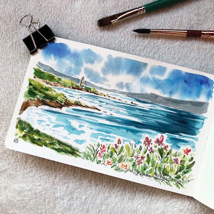 ocean landscape, waves crashing into beach, simple watercolor paintings, lighthouse in the distance