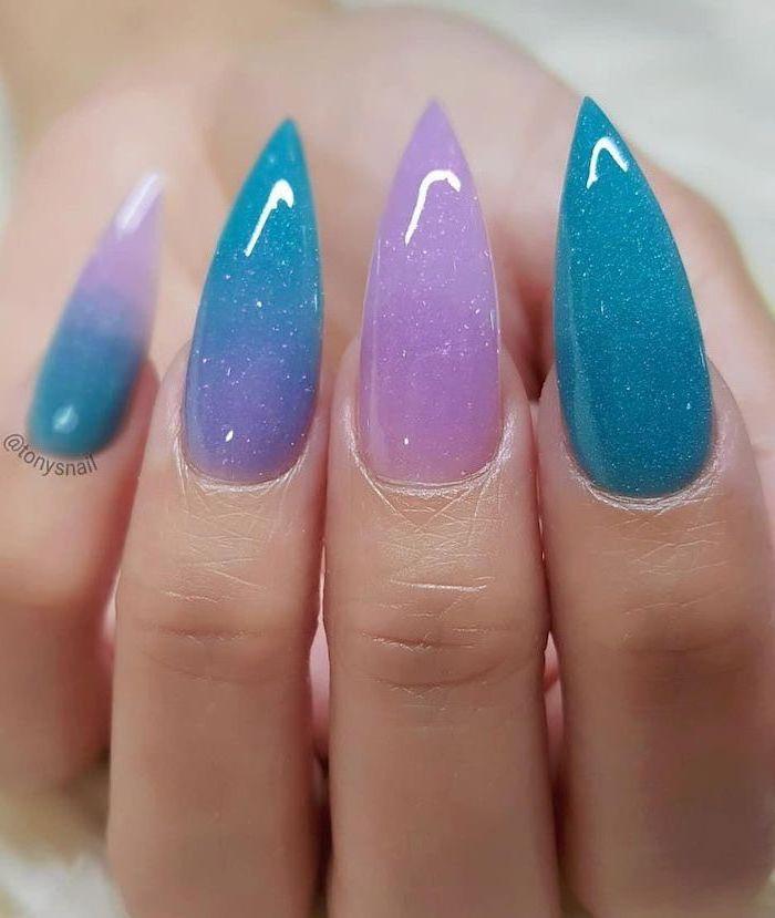 long stiletto nails, mermaid nails, pink and blue glitter nail polish, summer acrylic nails