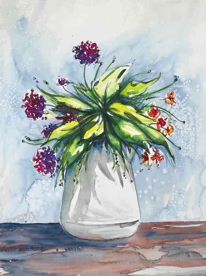 bouquet of purple and orange flowers, placed inside white vase, watercolor ideas, blue watercolor background