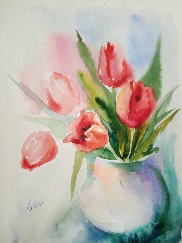 bouquet of red tulips, placed inside white vase, simple watercolor paintings, colorful watercolor background