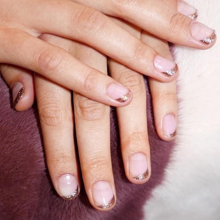 nude nail polish, gold glitter french tips, summer acrylic nails, short squoval nails