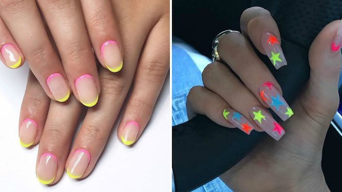 side by side photos, cute nail designs, neon nail polish, stars in neon colors decorations, french tip nails