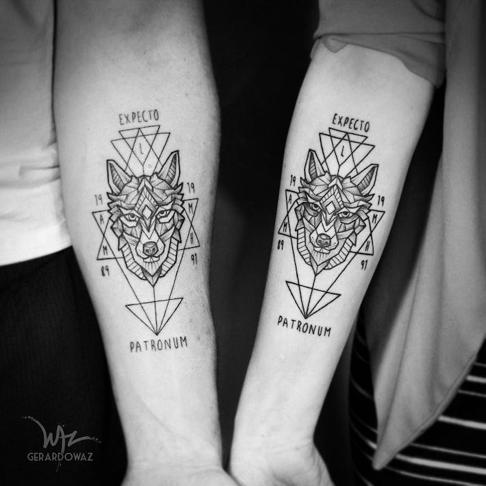 brother and sister tattoos matching geometric wolf tattoos expecto patronum written around them forearm tattoos