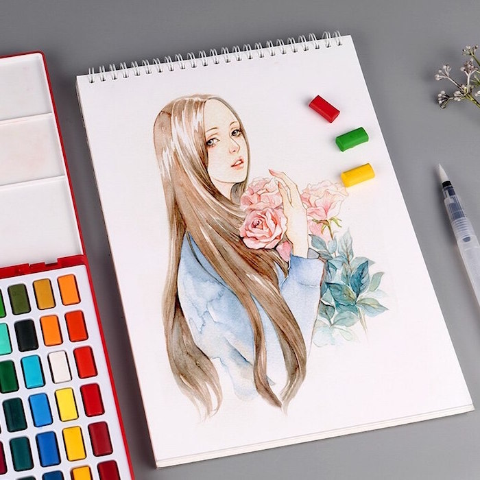 girl with long brown hair, holding a bouquet of three roses, watercolor ideas, wearing blue shirt, painted on white background