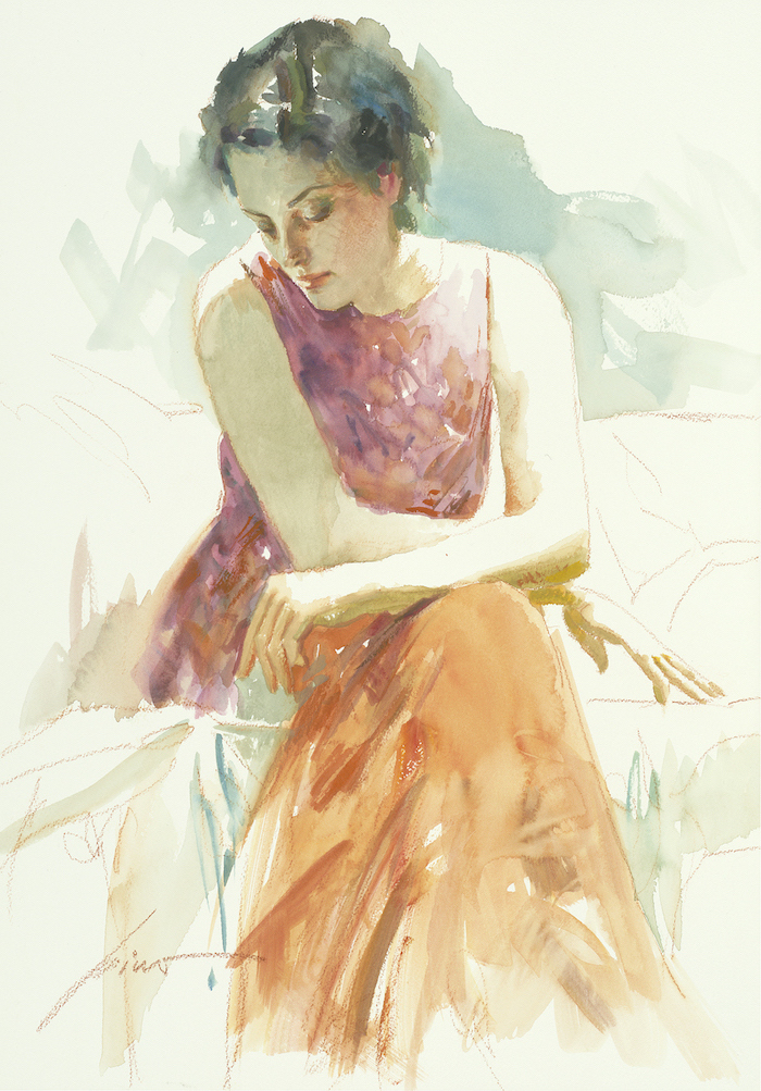 woman with short black hair, wearing long orange and purple dress, watercolor ideas, light watercolor background