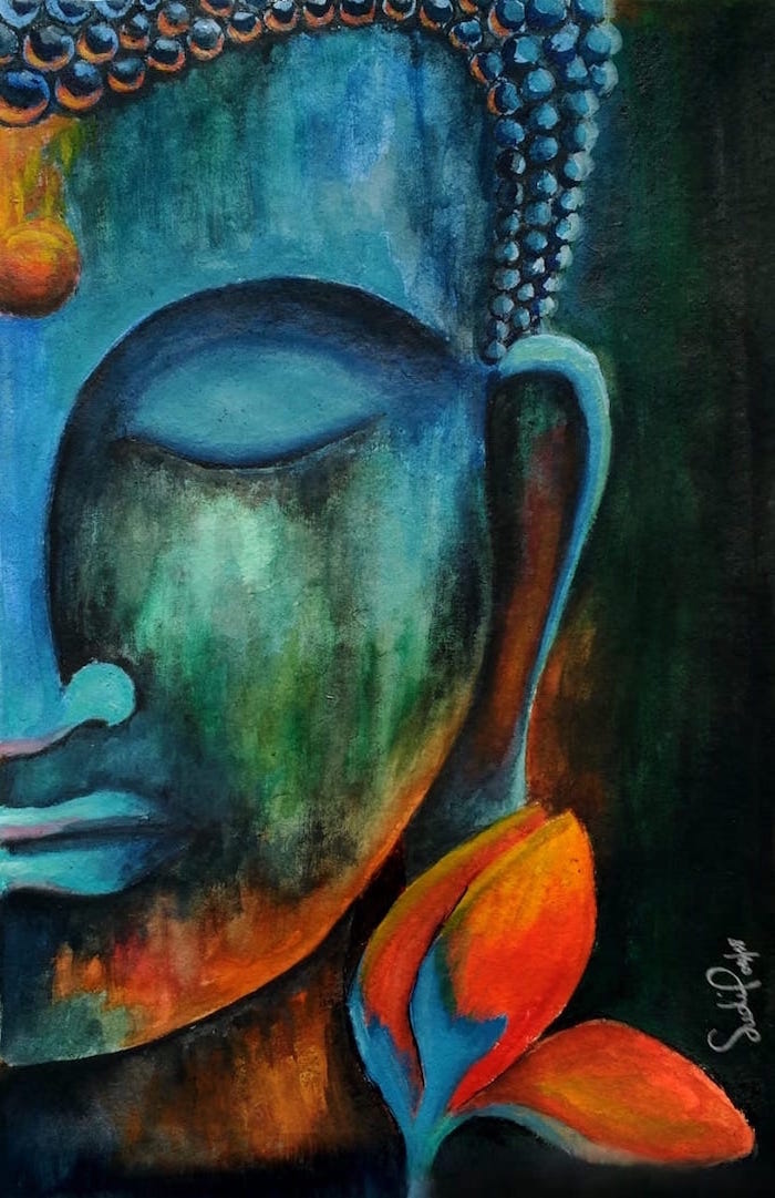 half of buddha's face, simple watercolor paintings, orange flower on the side, dark colors used