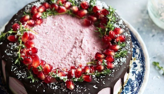 cake decorated with chocolate coconut flakes pomegranate seeds easy summer desserts