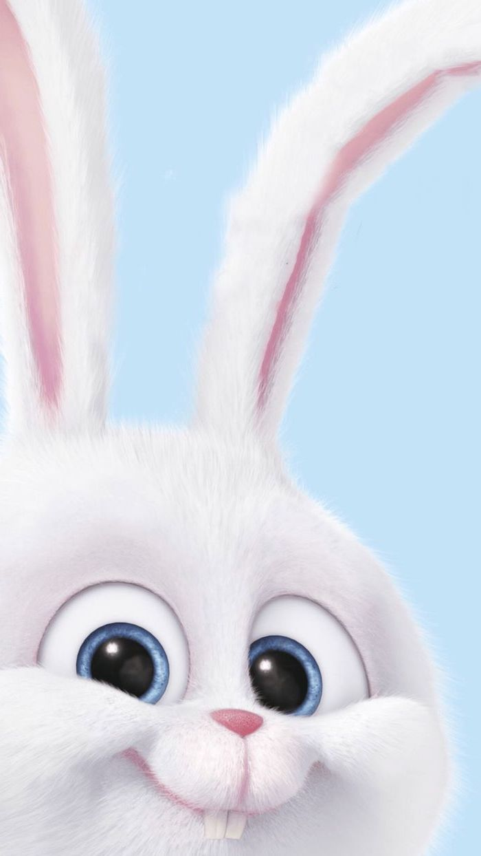 cartoon digital drawing of bunny with large eyes and ears cool computer wallpapers blue background