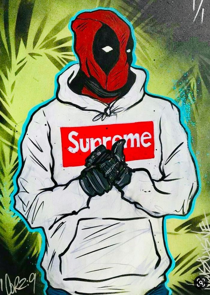 cartoon drawing of deadpool wearing white supreme hoodie cartoon supreme wallpaper green background with palm leaves