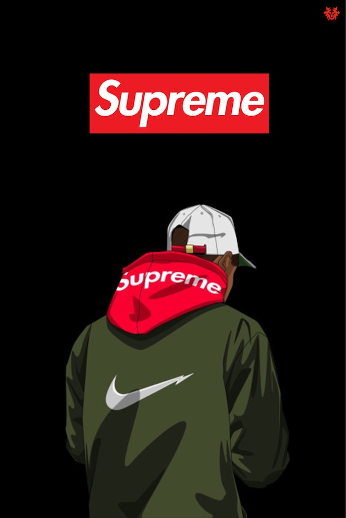 cartoon drawing of man wearing green nike coat supreme hoodie cap supreme girl wallpaper supreme logo in red and white on black background