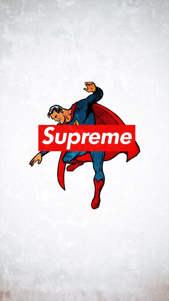 cartoon drawing of supreman flying on white background supreme logo in red and white at the center supreme wallpaper girl