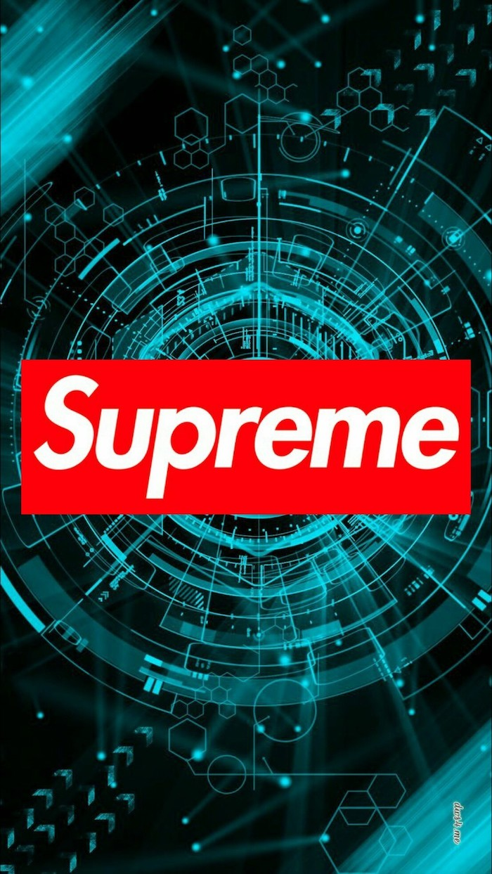 cartoon supreme wallpaper background in black and turquoise digitally created supreme logo at the center in red and white
