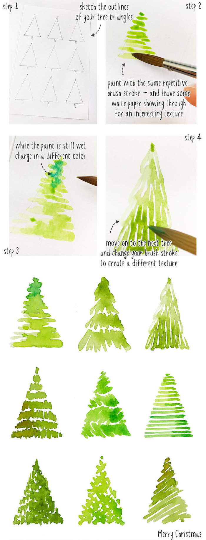 step by step diy tutorial, how to draw a christmas tree, different trees, drawn with watercolor, watercolor ideas