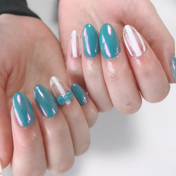 blue chrome nail polish, summer acrylic nails, white lines decorations, small bows decorations, almond nails