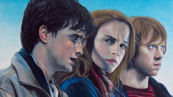 harry potter, hermione granger, ron weasley, colored drawing, harry potter cartoon images, realistic drawing
