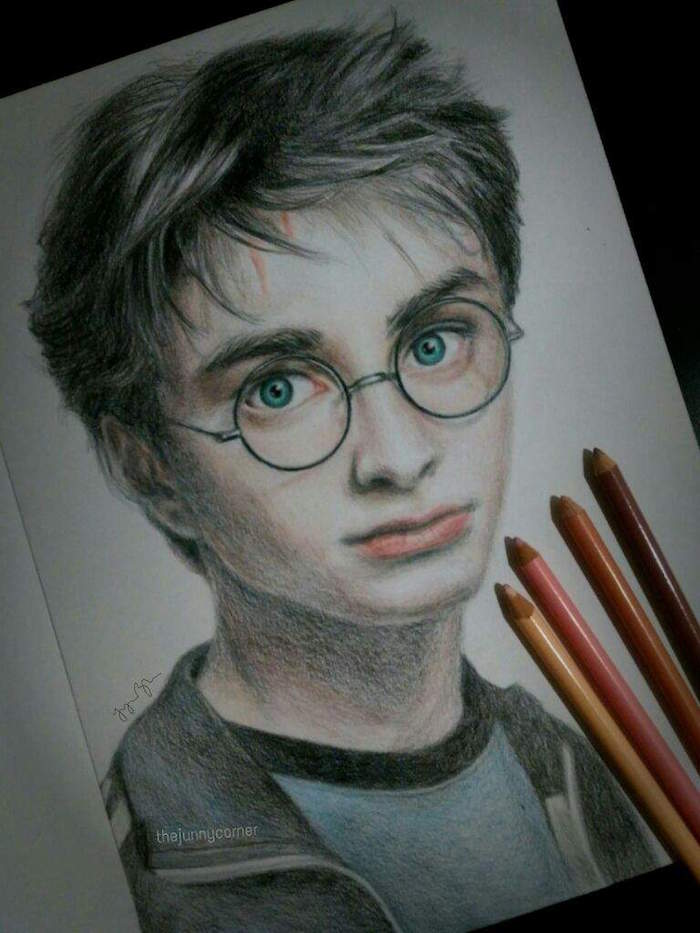 colored pencil drawing, harry potter drawings easy, step by step diy tutorial, white sketchbook