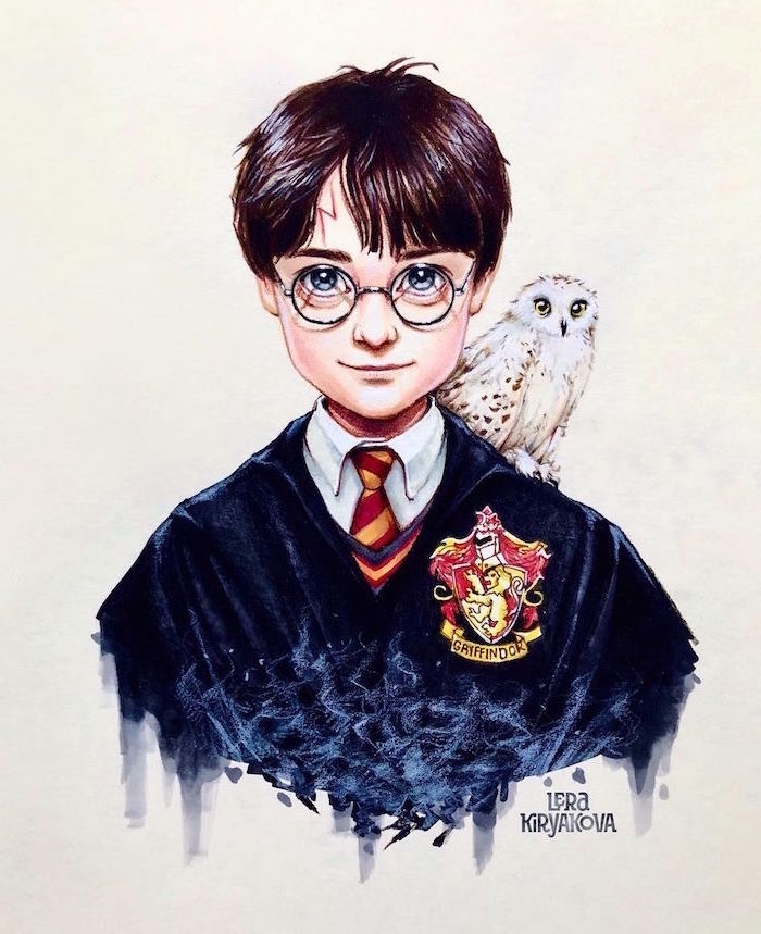 colored drawing, harry wearing gryffindor robes, harry potter cartoon images, hedwig on his shoulder