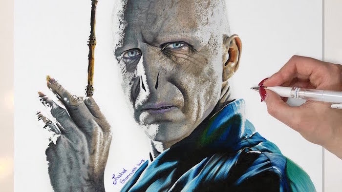 realistic drawing, colored drawing of voldemort, holding the elder wand, harry potter cartoon images
