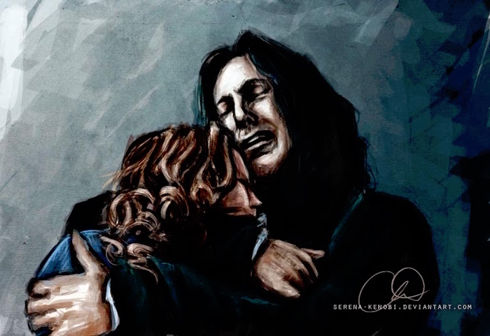 snape holding lily potter, harry potter cartoon images, colored drawing, acrylic painting