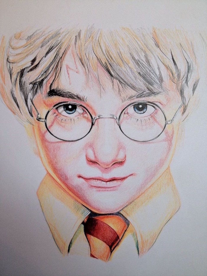 colored pencil drawing, harry potter cartoon images, close up of harry, wearing gryffindor tie