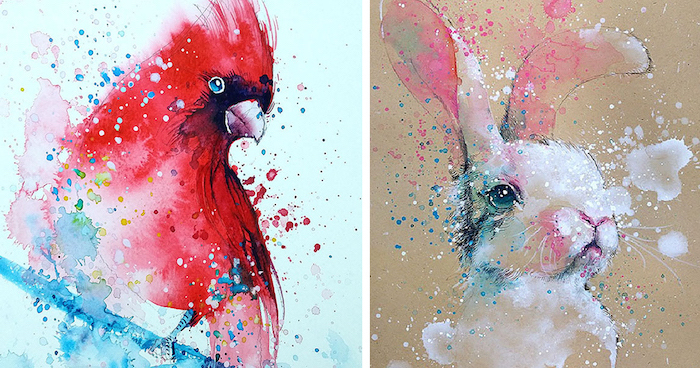 side by side paintings, watercolor landscape painting, paintings of parrot and rabbit, abstract art