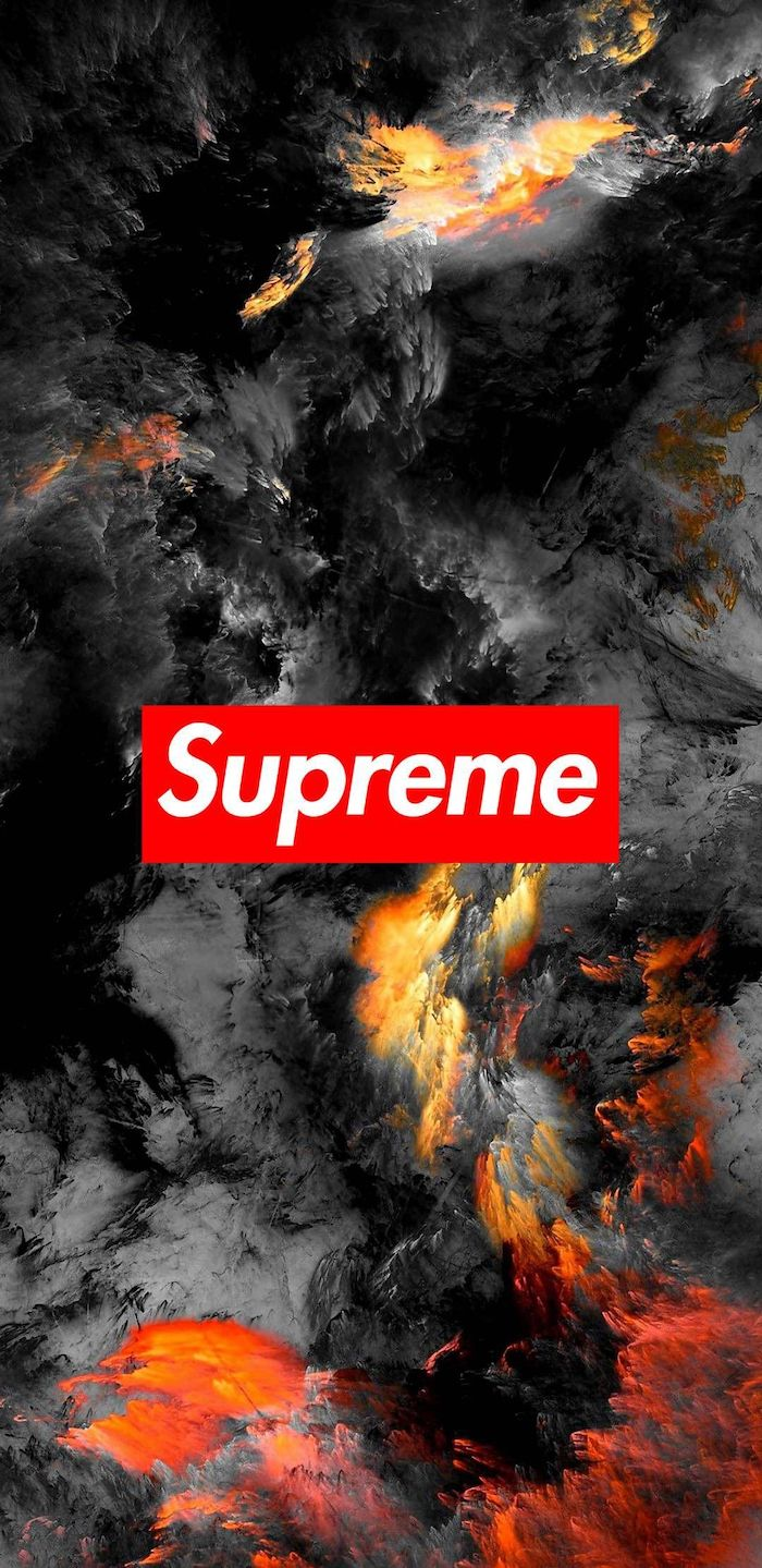 cool hypebeast wallpapers abstract background in black orange and yellow red and white supreme logo at the center 1