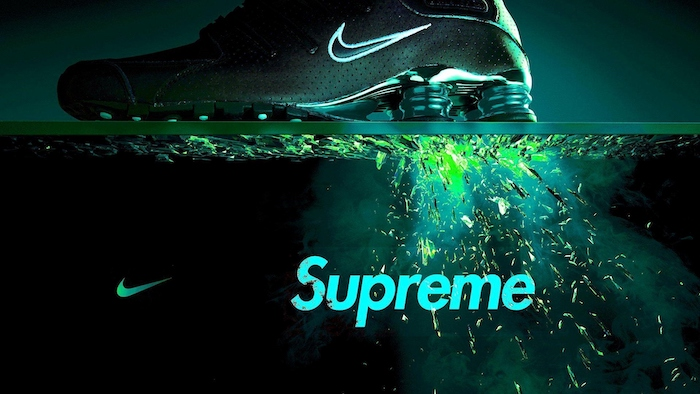 cool wallpapers supreme nike and supreme logos nike sneakers neon green blue black backgorund