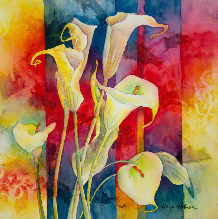 creamy white flowers, abstract background, painted in different watercolors, easy paintings for beginners