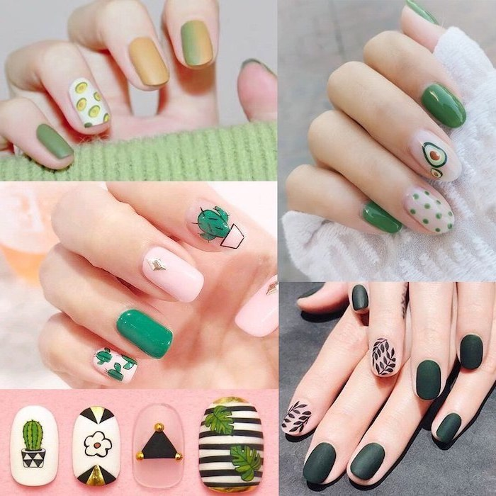 photo collage, cute nail colors, nail polish in different shades of green, decorations with avocados and cactuses