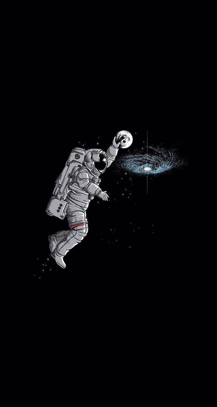 cute funny wallpapers drawing of astronaut dunking the moon into the milky way galaxy