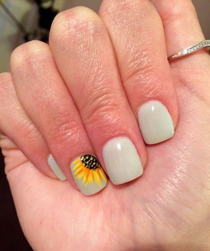 light grey nail polish, short square nails, cute nail colors, sunflower decorations