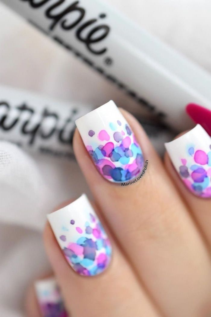 medium length square nails, white nail polish, cute nail colors, watercolor dots decorations