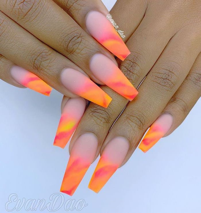 ombre nails, cute nail colors, nude and orange nail polish, long coffin nails, white background