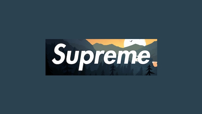 dark blue background cool wallpapers supreme logo with cartoon mountain landscape with large sun